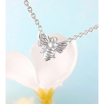 Tiny Honey Bee or Bumble Bee Necklace