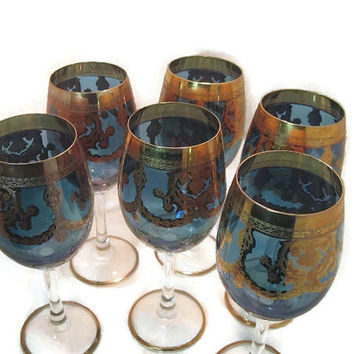 Elegant Cobalt Blue and Gold Trimmed Stemmed Wine Goblets Set of 6