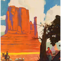 Santa Fe Railroad Navajo Land Travel Poster 12x18