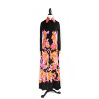 Psychedellic Neon Paisly Floral 60's Peter Pan Collar Button Up Maxi Dress // Mr. Dino // RARE