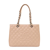 'NEW' - Chanel 34cm 'Sac cabas' in Vanilla Quilted Caviar with Palladium