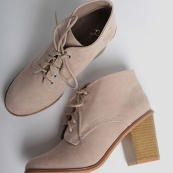 Hitting The Road Lace-Up Booties In Beige