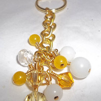 Handmade Sunny Yellow and White Gold Tone Keychain featuring Swarovski Crystal and Yellow Jade