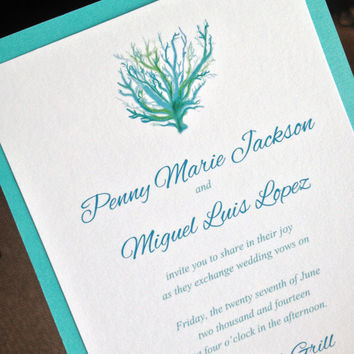 Signature Beach Wedding Invitation and RSVP Card with Envelopes - Hand Painted Blue Coral | Cotton Invitation Set of 25