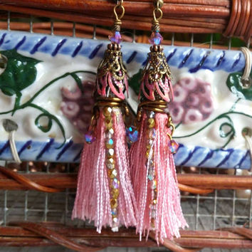 Rose Tassel Earrings, Gypsy Earrings,  Boho Earrings, Bohemian Jewelry