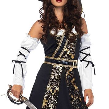 Stealing Treasure Black Gold Sleeveless Detachable Sleeve Ruffle Brocade Mini Dress Halloween Costume