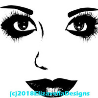 womans face features makeup png file printable art print clipart digital download image graphics beauty black and white artwork