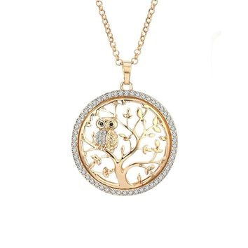 Necklace for Women,Tree of Life with Owl Pendant Necklace Girls CZ Crystal Necklace Long Chain Necklace