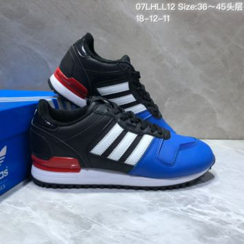 KUYOU A401 Adidas Originals ZX700 Leather Sports Running Shoes Black Blue Red