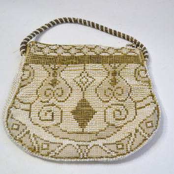 Vintage Beaded Purse Made in Czechoslovakia Beige Neutral PanchosPorch