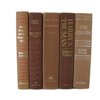 Brown Vintage Books for Mantel Decor, S/5