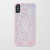 Candyfloss Marble Mandala iPhone Case by Tanyadraws