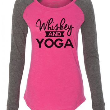 "Womens ""Whiskey And Yoga"" Long Sleeve Elbow Patch Contrast Shirt"