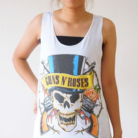 S,M,L -- Guns N' Roses TShirt GNR Shirts Slash Shirts Rock Shirts Women Shirts Vest Women Tank Top Women Tunics Sleeveless Singlet Shirts