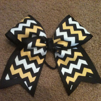 "Big 3"" Cheer Bow Black yellow gold white chevron Steelers Practice allstar cheerleading Hair Bow  also Great for Softball"
