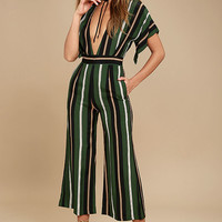 Faithfull the Brand Cedric Green Striped Midi Jumpsuit