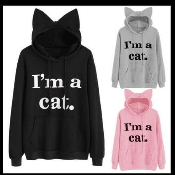 Women Sweatshirt Letter Slogan Print Kitten Ear Kawaii Hoodie 2018 New Black Pink Hooded Hoodies Tracksuit Outwear Femme Jumper