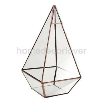 Vintage Glass Geometric Terrarium Box Tabletop Succulent Planter Flower Pot Home Garden Decoration