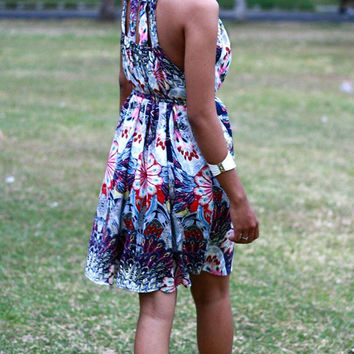 Purple Short Dress, Mini dress, summer fashion outfit, purple floral mini dress