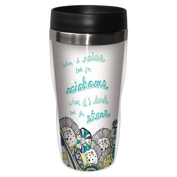 Look For Rainbows Travel Mug - Premium 16 oz Stainless Lined w/ No Spill Lid