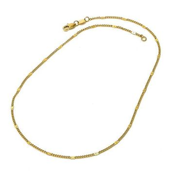 Gold Layered Basic Necklace, Curb Design, Gold Tone