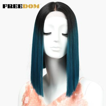Straight Synthetic Hair Lace Front And T Part Wig 14 Inch Wigs Blue Ombre