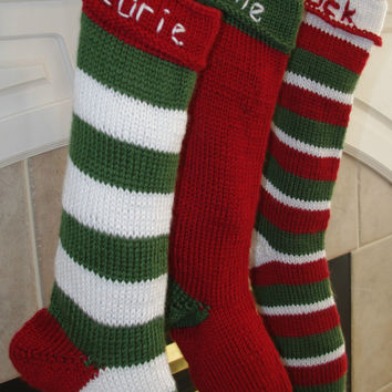 Hand Knit Christmas Stocking  - Striped or Solid Custom Order Size & Color
