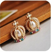 Elegant Style Pearl Cross Diamond Rhinestone Crown Earings