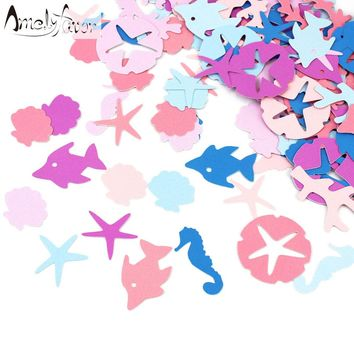 Nautical Confetti Under the Sea Party Purple & Blue Seahorse Confetti Mermaid Decorations Table Confetti Birthday Party 100 Ct