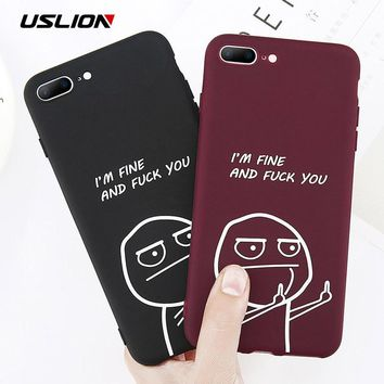 USLION Funny Letter Phone Case For iPhone 8 7 Plus X Middle Finger Emoji  TPU Silicone 255ad4b0f2b4