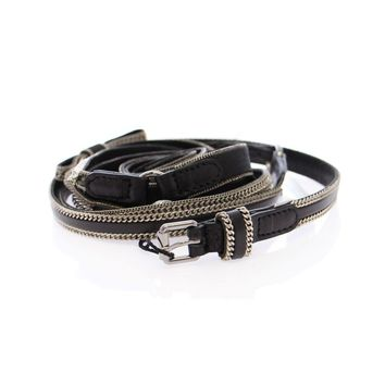 Dolce & Gabbana Black Leather Logo Belt