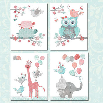 Elephants Baby girl nursery wall decor owl toddler art kids room poster giraffe playroom artwork newborn shower gift turquoise coral turtle