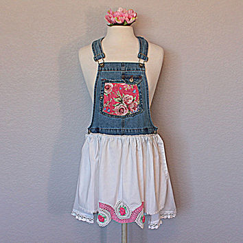Shabby Gypsy Cowgirl Bib Overall Tunic Romantic Vintage Shirt