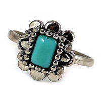 Aztec Style Pinky Ring Avon 1993 Turquoise Blue Silver Tone Size 7 r197