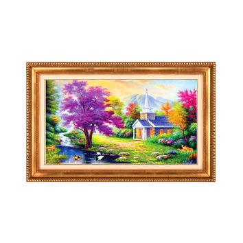Diamond Painting Dreamlike Home Small House 5D Magic Cube Diamond Round Diamond Romantic Scenery Diamond Paste Cross Stitch Hanging Painting Diamond Stitch