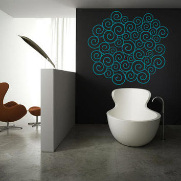 Wall Art - Waves pattern vinyl wall decal / sticker / mural removale wall decor