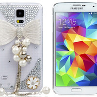 Crystal Butterfly & Beads Plastic Case for Samsung Galaxy S5
