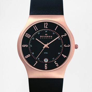 Skagen Gold Detail Watch With Black Leather Strap