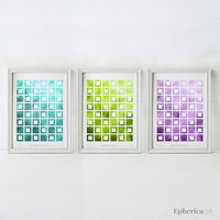 Colorful wall art Set of 3 prints, 5x7 art prints, Bathroom decor, Digital Printable art, Home decor Bathroom wall art, Geometric art prints