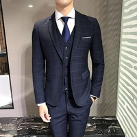 Autumn and winter new self-cultivation smooth dark lattice fabric two single row buckle men's suits three-piece suit