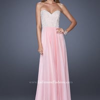 La Femme 20211 - Pink Beaded Strapless Chiffon Prom Dresses Online