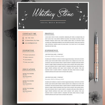 Creative Resume Template, CV Template, Instant Download, Editable in MS Word and Pages + Cover Letter.