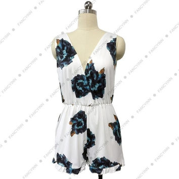 2015 Women Jumpsuits Print with Backless Playsuits Ruffles and Deep V Neck Elastic Waist Female Summer Rompers Hot Sell = 1667689092