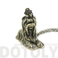 3D Detailed Yorkshire Terrier Shaped Dog Charm Necklace in Brass