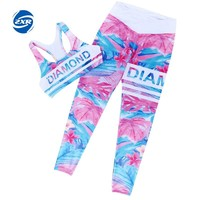 New Sport Suit Women Sports Bra and Printed Leggings Yoga Set Gym Fitness Running Sportswear Elastic Workout Clothes