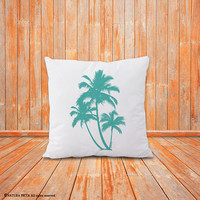 Palm tree pillow-tropical decor-home decor-palm leaves pillow cover-botanical pillow-pillow-beach pillow-coastal pillow-NATURA PICTA-NPCP080