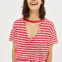 PETITE Acid Stripe Choker Neck T-Shirt | Topshop