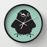Baby Raven, Wink Wall Clock by Raven Jumpo