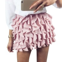 Pleated ruffled skirt