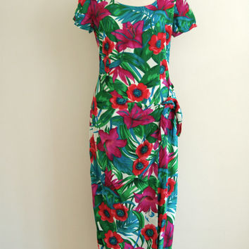 hawaiian midi maxi dress - 80s vintage green pink red tropical print beach dress - sarong tie front skirt - small medum